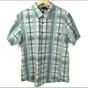 Oakley Plaid Blue Grey Casual Button Down Shirt M
